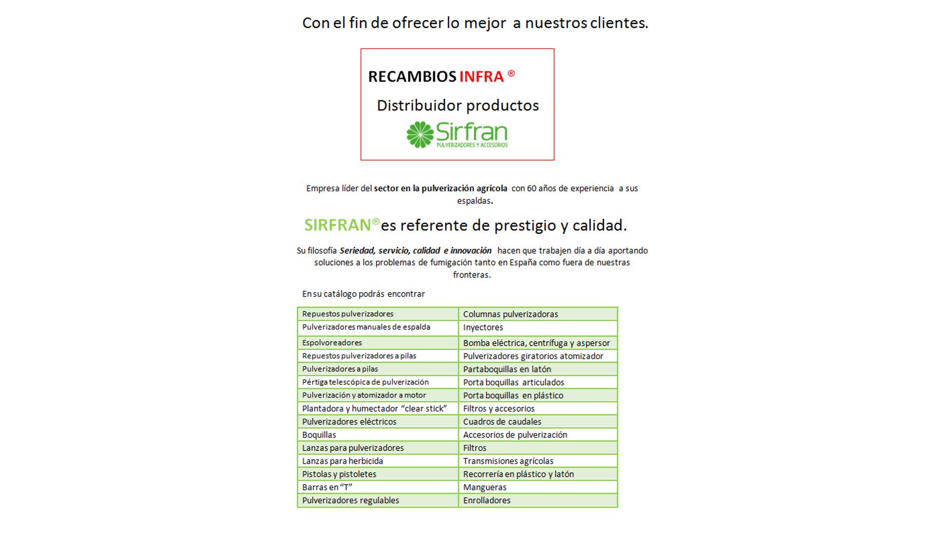 somos distribuidores de productos sirfran